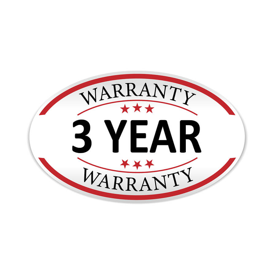 Three-year warranty seal for repairs and services