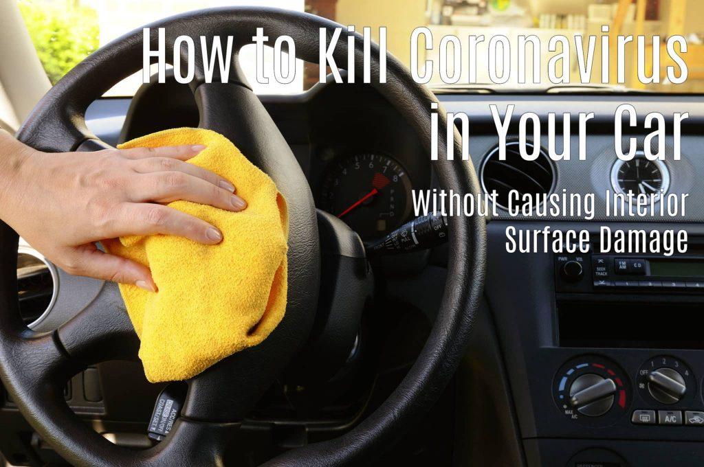 Woman's nand with microfiber cloth polishing steering wheel of an SUV car