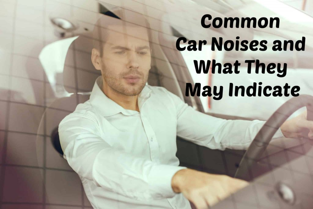 Young man sitting in a car test drive rental service